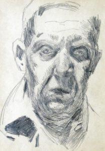 Stanisław Kamocki, Autoportret wujęciu en face (ołówek napapierze)
