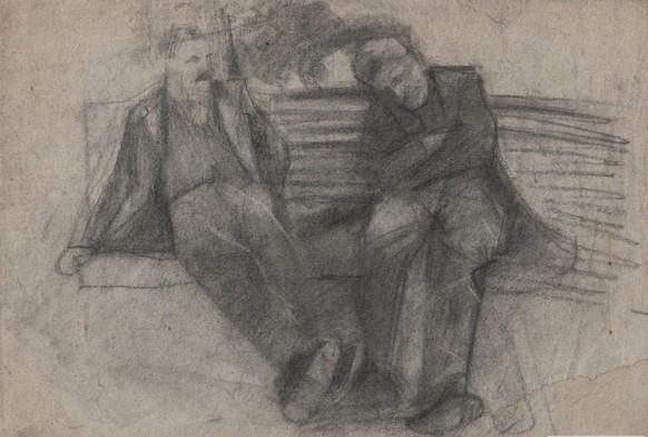 Artur Markowicz, Dwóch mężczyzn siedzących naławce, węgiel, papier ok. 1900r.