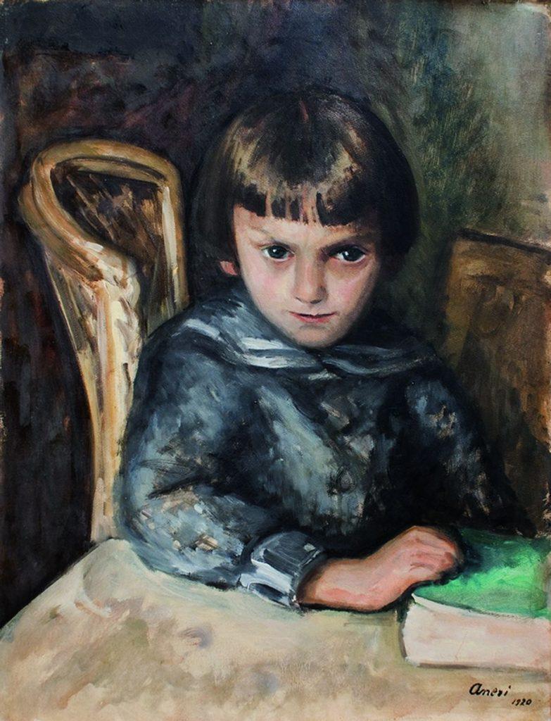 Irena Weiss (Aneri) 1920, Portret Chłopca, olej natekturze