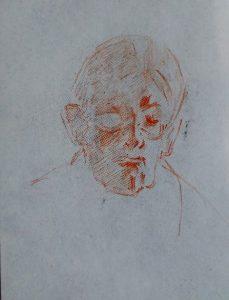 Jacek Malczewski, Głowa Siostry Artysty Heleny Karczewskiej (ołówek ipapier, albokredka czerwona)