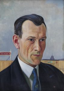 Wlastimil Hofman Portret pana Potockiego natle muru stadionu