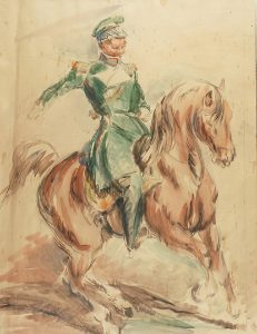 Eugeniusz Geppert, Jeździec nakoniu - Oficer nakoniu ołówek, akwarela, karton