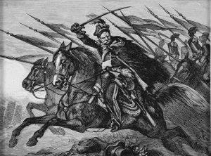 """Juliusz Kossak, """"Do ataku!- Pan Mohort osłania odwrót brygady Wielhorskiego"""" drzeworyt; wymiary 10 x 13,5 cm"""